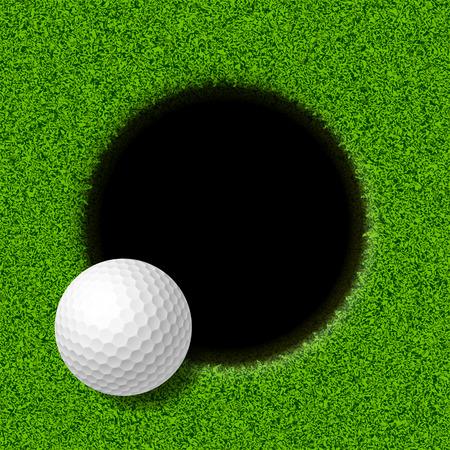 Ilustración de Golf ball on lip of cup - Imagen libre de derechos