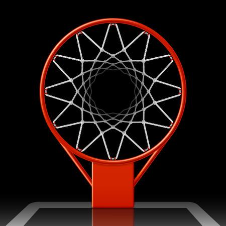 Ilustración de Basketball hoop on black, top view - Imagen libre de derechos