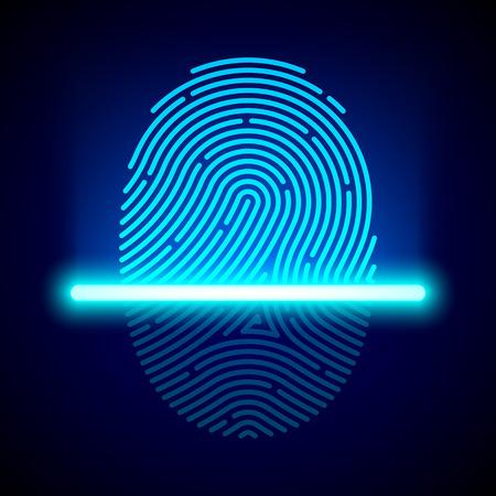 Illustration pour Fingerprint scanner, identification system - image libre de droit