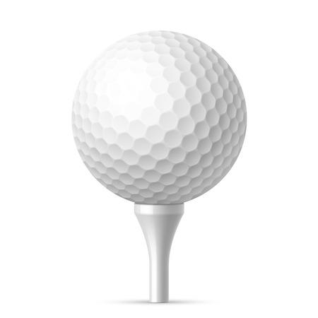 Ilustración de Golf ball on white tee - Imagen libre de derechos