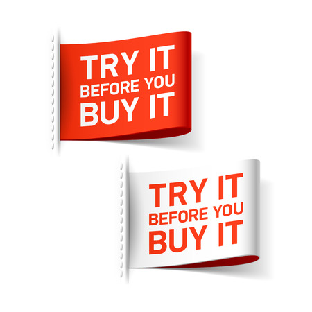 Illustration pour Try it before you buy it label - image libre de droit
