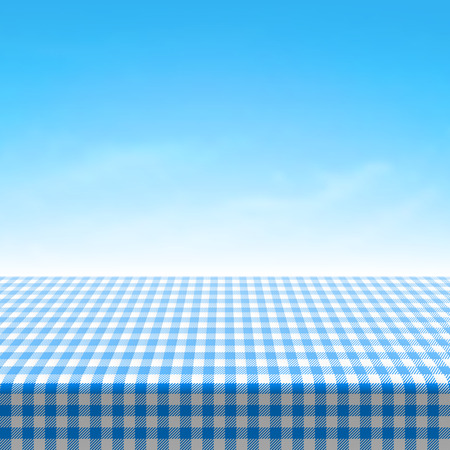 Illustration pour Empty picnic table covered with blue checkered tablecloth - image libre de droit