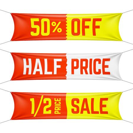 Illustration pour Half price textile banners - image libre de droit