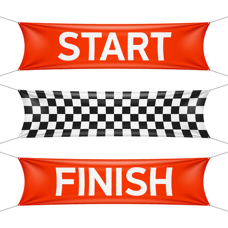 Ilustración de Starting and finishing lines, checkered banners - Imagen libre de derechos