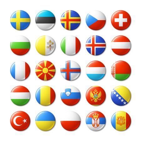 Ilustración de World flags round badges, magnets. Europe. - Imagen libre de derechos