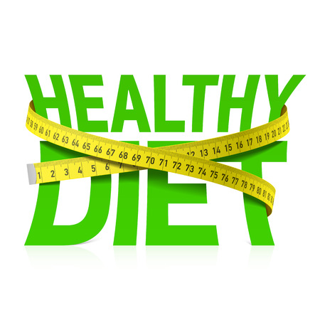 Foto de Healthy diet phrase with measuring tape concept - Imagen libre de derechos