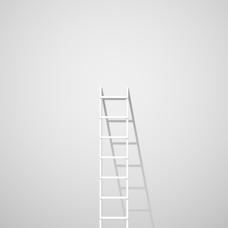 Illustration for White ladder against wall - Royalty Free Image