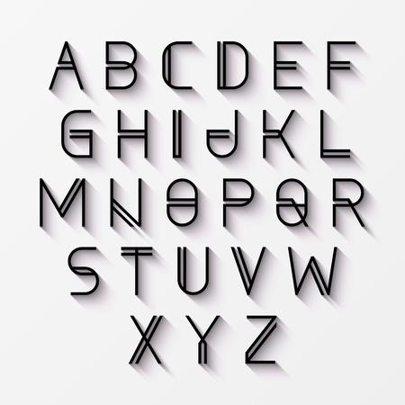 Ilustración de Modern alphabet with shadow - Imagen libre de derechos