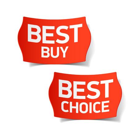 Illustration pour Best buy and best choice labels - image libre de droit