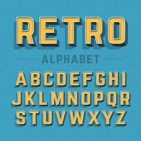 Illustration pour Retro style alphabet - image libre de droit