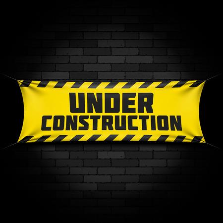 Illustration pour Under construction banner on black - image libre de droit