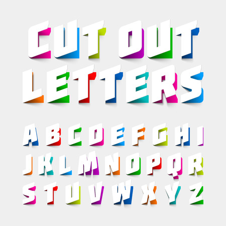 Illustration for Alphabet letters cut out from paper - Royalty Free Image