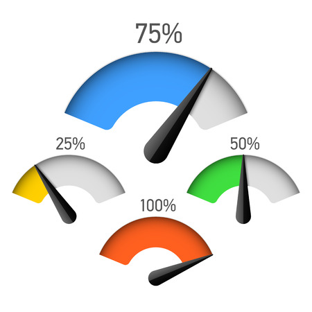 Ilustración de Infographic gauge chart element with percentage - Imagen libre de derechos