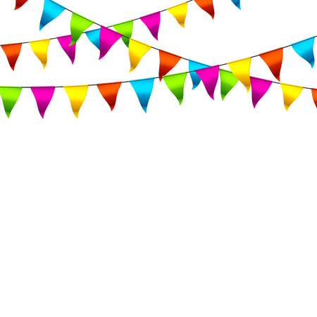 Illustration pour Colorful bunting flags with space for text - image libre de droit