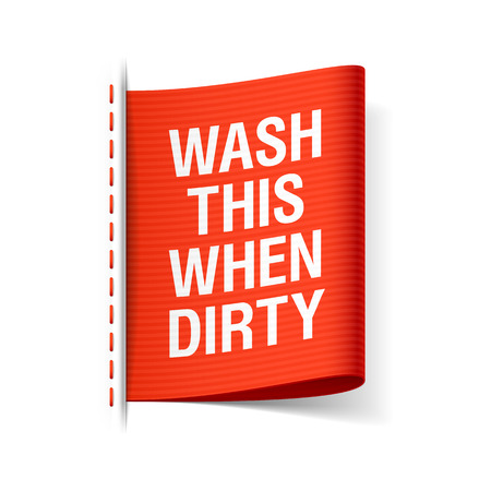 Illustration for Wash this when dirty - clothing label - Royalty Free Image