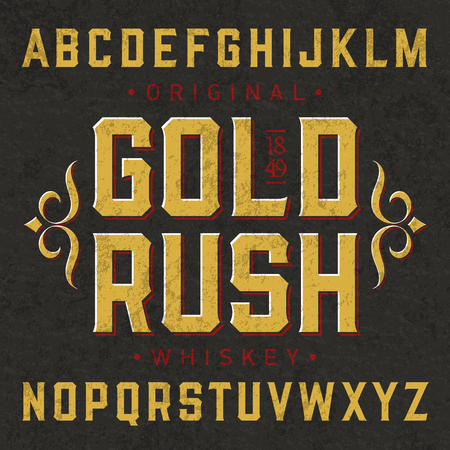 Photo for Gold Rush whiskey style vintage label font with simple design. Ideal for any design in vintage style. - Royalty Free Image