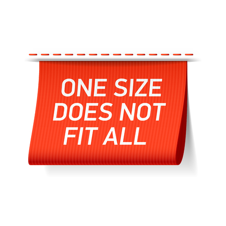 Illustrazione per One size does not fit all label - Immagini Royalty Free