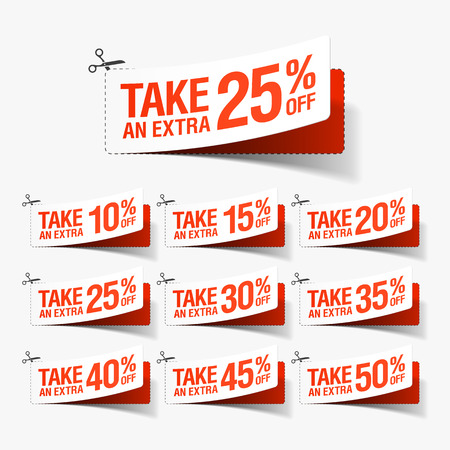Illustration pour Take an Extra Sale coupons - image libre de droit