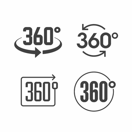 Illustration for 360 degrees view sign icon - Royalty Free Image
