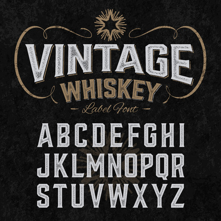 Illustration for Vintage whiskey label font with sample design. Ideal for any design in vintage style. - Royalty Free Image