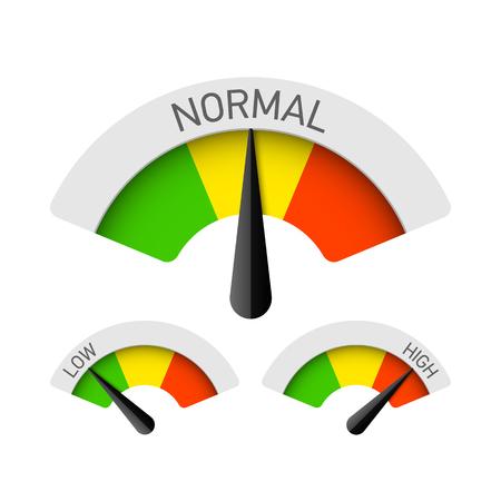 Illustration pour Low, normal and high gauges - image libre de droit
