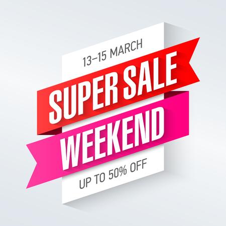 Illustration pour Super Sale Weekend special offer poster, banner background, big sale, clearance. - image libre de droit