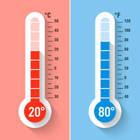 Illustration pour Celsius and Fahrenheit thermometers - image libre de droit