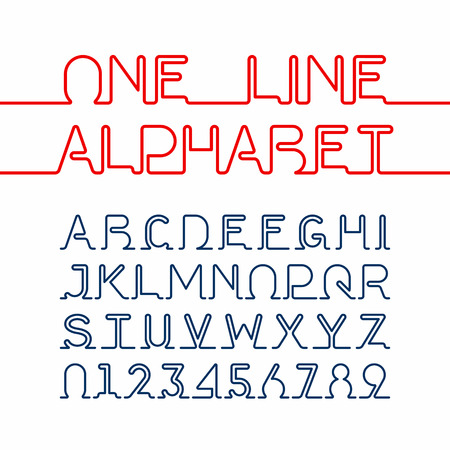 Ilustración de One line alphabet and numbers. One single continuous line font - Imagen libre de derechos