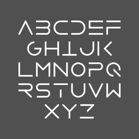 Illustration pour Thin line bold style uppercase modern font, typeface, minimalist style. Latin alphabet letters. - image libre de droit