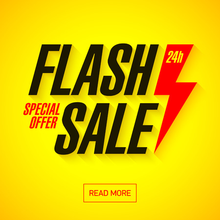 Illustration for Flash Sale banner. 24 hours only, special offer. - Royalty Free Image
