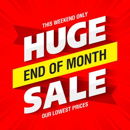 Illustration pour End of Month Huge Sale banner - image libre de droit