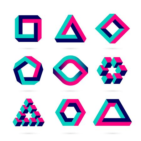 Illustration pour shapes, optical illusion objects - image libre de droit