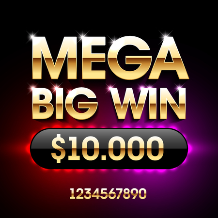 Illustration for Mega Big Win banner for lottery or casino games such as poker, roulette, slot machines or card games. - Royalty Free Image