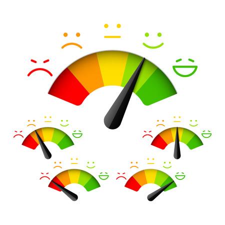 Illustration pour Customer satisfaction meter with different emotions - image libre de droit