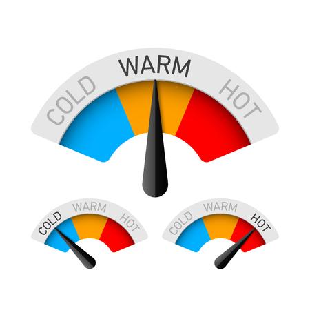 Ilustración de Cold, warm and hot temperature gauge - Imagen libre de derechos