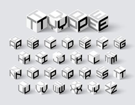 Illustration pour Cube shape 3d isometric font, three-dimentional alphabet letters - image libre de droit