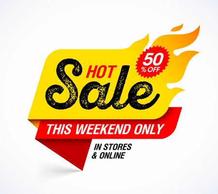 Illustration pour Hot Sale banner. This weekend special offer, big sale, discount up to 50% off - image libre de droit