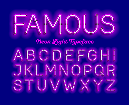 Illustration for Famous, neon light typeface. Modern neon tube glow font, - Royalty Free Image