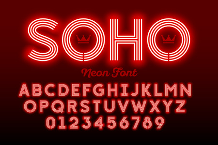 Illustrazione per Neon style modern font, alphabet and numbers - Immagini Royalty Free