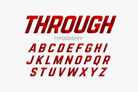 Ilustración de Cutted through font, alphabet and numbers - Imagen libre de derechos