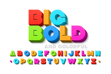 Illustration for Bold colorful 3d font - Royalty Free Image