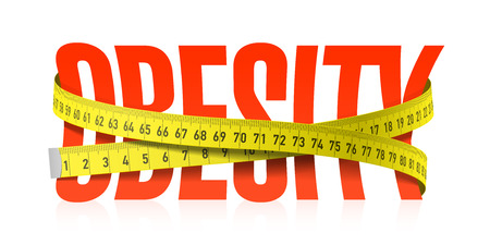 Illustrazione per Obesity word with measuring tape, diet theme - Immagini Royalty Free