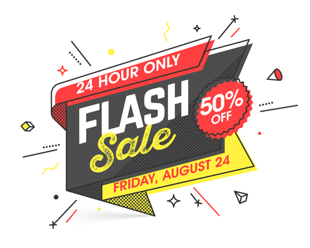 Illustration for Flash Sale banner template in flat trendy memphis geometric style, retro 80s - 90s paper style poster, placard, web banner design - Royalty Free Image