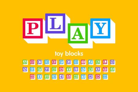 Ilustración de Toy blocks font, alphabet letters and numbers - Imagen libre de derechos