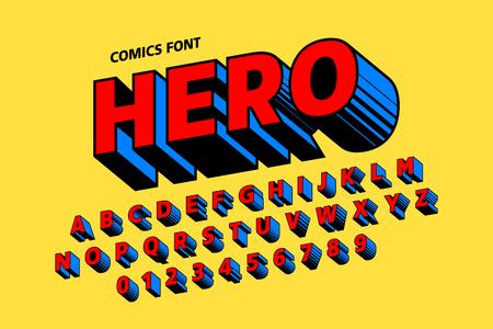 Ilustración de Comics style font design, alphabet letters and numbers - Imagen libre de derechos