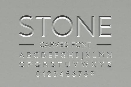 Ilustración de Stone carved font, alphabet letters and numbers - Imagen libre de derechos