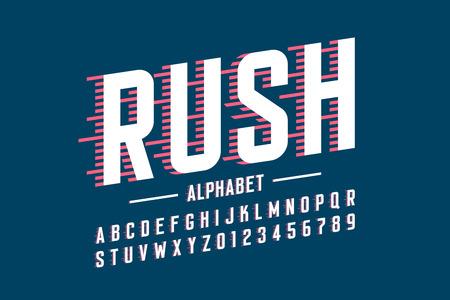 Illustration pour Speed style font, alphabet and numbers vector illustration - image libre de droit