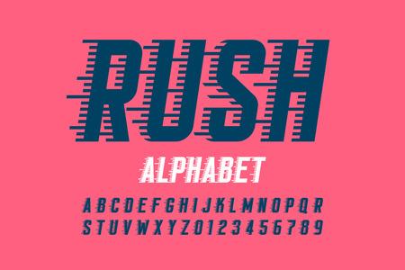 Illustration pour Rush font, alphabet and numbers - image libre de droit