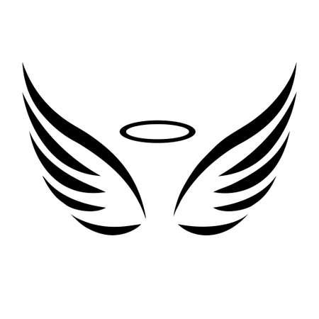 Ilustración de Vector sketch of angel wings on white background - Imagen libre de derechos