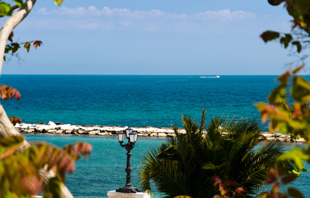 Photo for Embankment promenade Imperatore Augusto with street light and view of Adriatic sea in the city of Bari, Puglia Apulia region, Southern Italy - Royalty Free Image